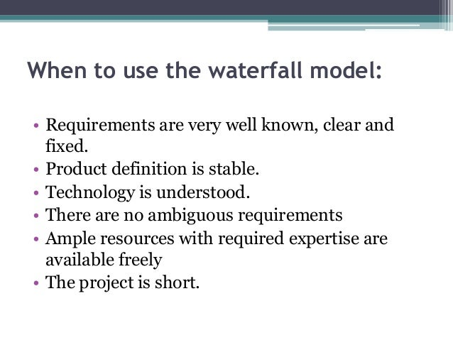 advantages of waterfall model