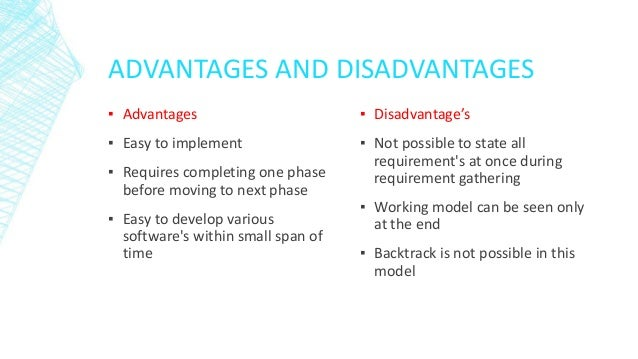 Water fall model for Advantages and disadvantages of waterfall model