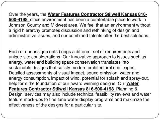 Water Features Contractor Stilwell Kansas 816-500-4198 Slide 2