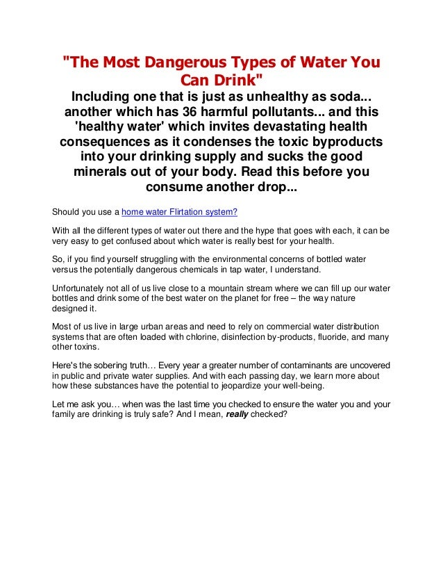 """""""The Most Dangerous Types of Water You Can Drink"""" Including one that is just as unhealthy as soda... another which has 36 ..."""