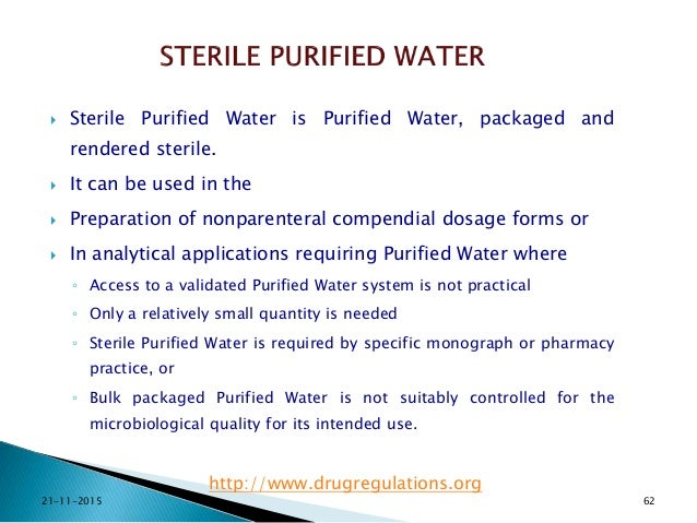 Water For Pharmaceutical Purposes New Usp Requriements