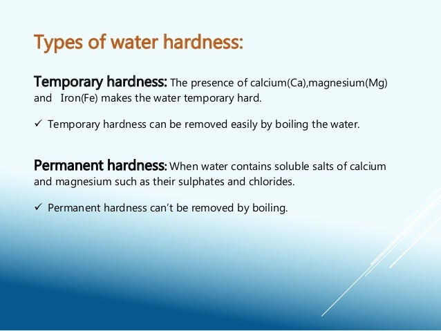 permanent water hardness of water sources Hard water is water that contains cations with a charge of +2, especially ca 2+ and mg 2+ these ions do not pose any health threat, but they can engage in reactions that leave insoluble mineral deposits these deposits can make hard water unsuitable for many uses,.