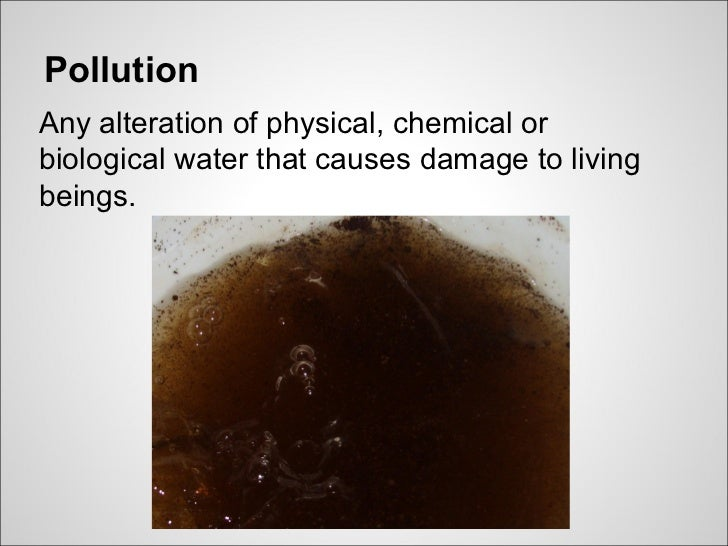 PollutionAny alteration of physical, chemical orbiological water that causes damage to livingbeings.