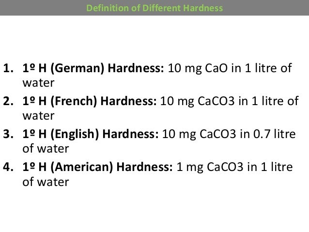 hardness of water Hard water also contains bicarbonates and sulfates but calcium and magnesium are the most abundant minerals in hard water the hardness of the water mainly depends upon the concentration of the calcium & magnesium in the water.