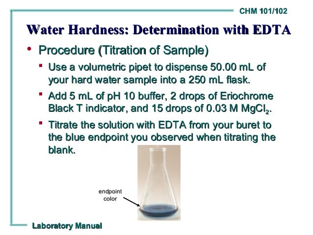 lab 11 determination of water hardness Water chemistry laboratory, university of wisconsin, madison, wis 53706  the hardness of the water or the addition of 1 z  determination of calcium are edta.