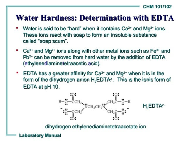 determination of hardness of water 7 improvements in the soap solution method for determining hardness of water by k w brown and p a villarruz in recent years there has been a growing need for a rapid and fairly accurate method for determining the calcium and magnesium content and the total hardness of natural waters.