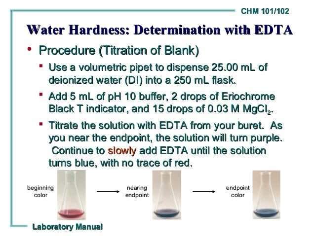 water hardness titration Determination of the hardness of water  the water sample for each titration as before, add some indicator, 5 ml of ph 10 buffer.