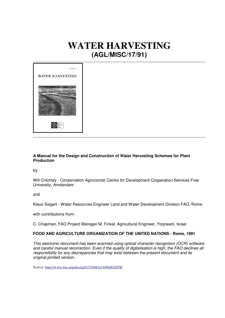 Un Water Harvesting A Manual For The Design And Construction Of W