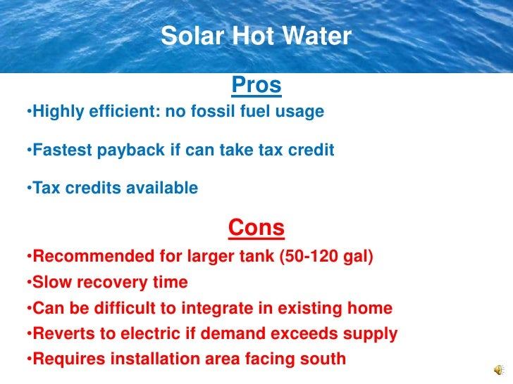 Water Heating Options And Solar Water
