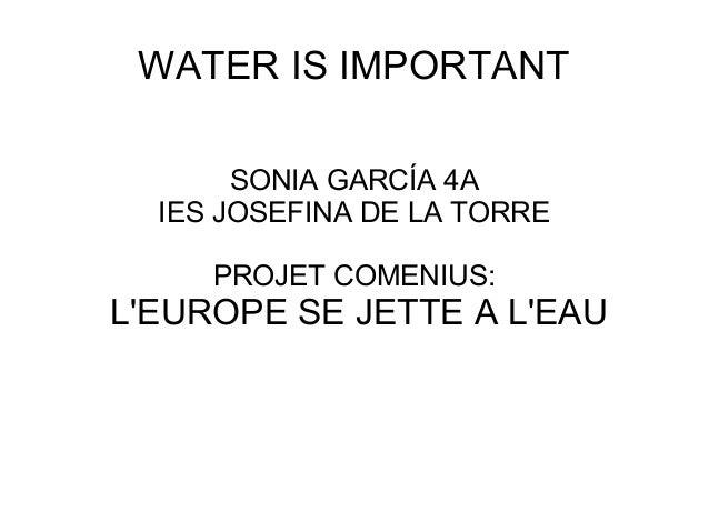 WATER IS IMPORTANT SONIA GARCÍA 4A IES JOSEFINA DE LA TORRE PROJET COMENIUS: L'EUROPE SE JETTE A L'EAU
