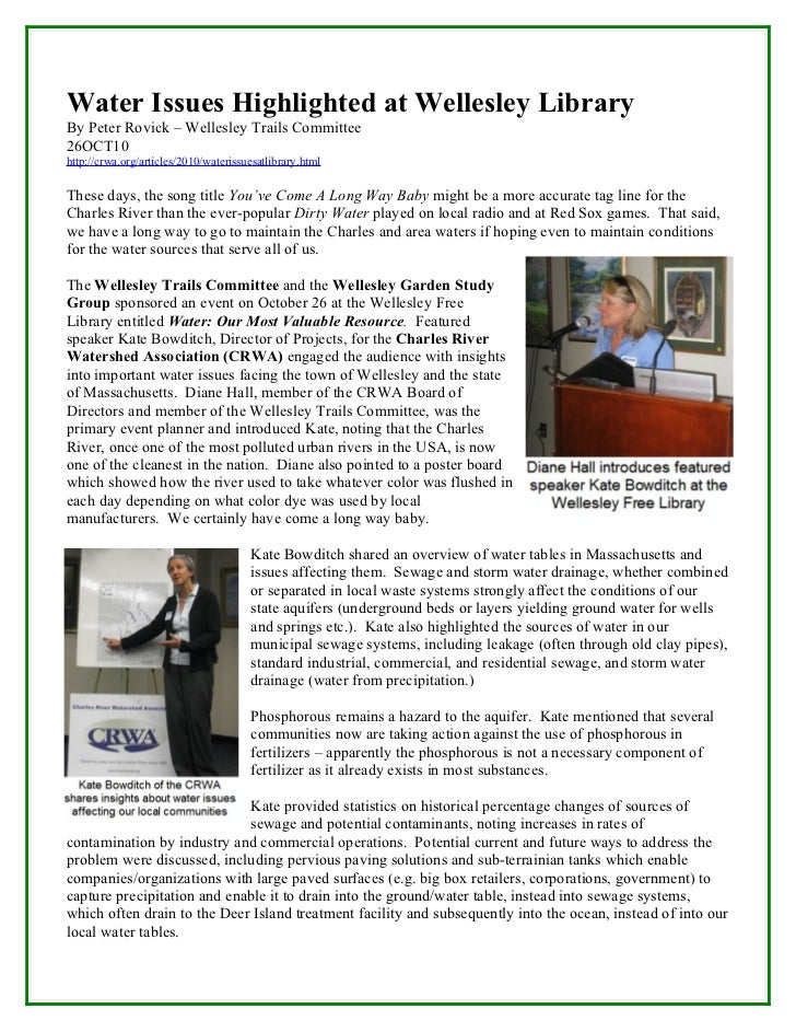 Water Issues Highlighted at Wellesley LibraryBy Peter Rovick – Wellesley Trails Committee26OCT10http://crwa.org/articles/2...