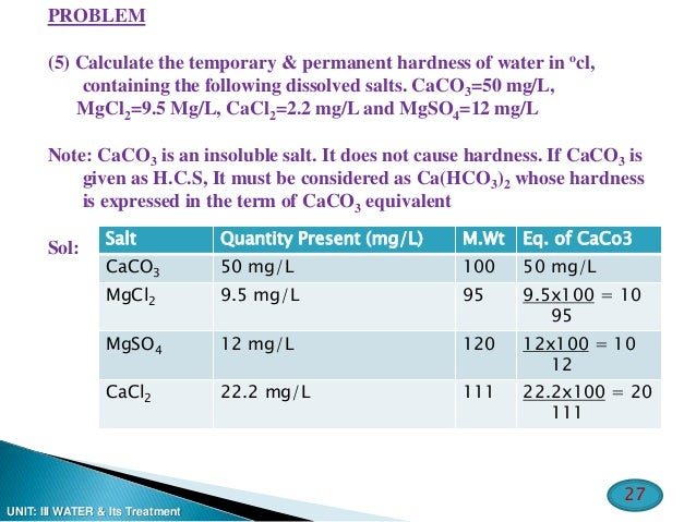 causes of temporary and permanent hardness of water