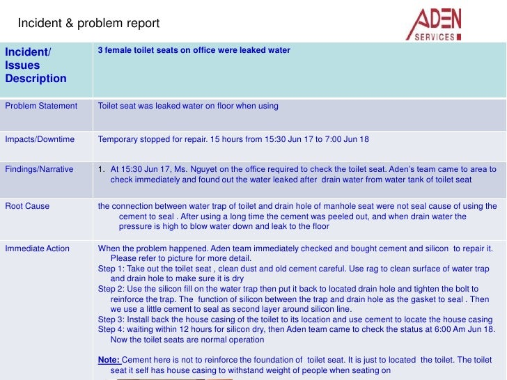 Water Leak On Female Toilet Seat Correction Report