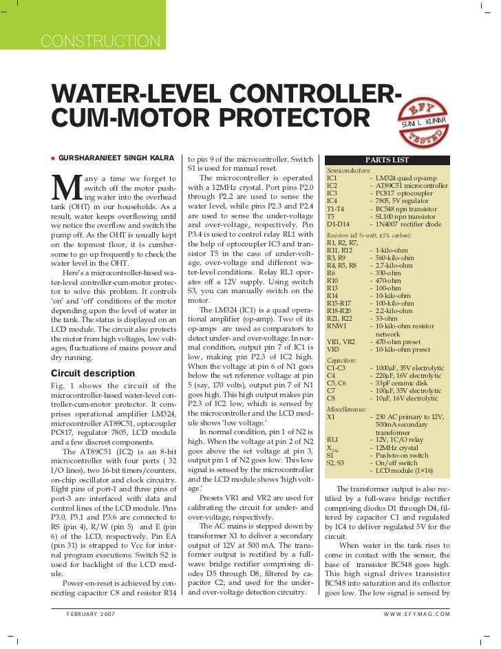 CONSTRUCTION WATER-LEVEL CONTROLLER- CUM-MOTOR PROTECTOR                                                                  ...
