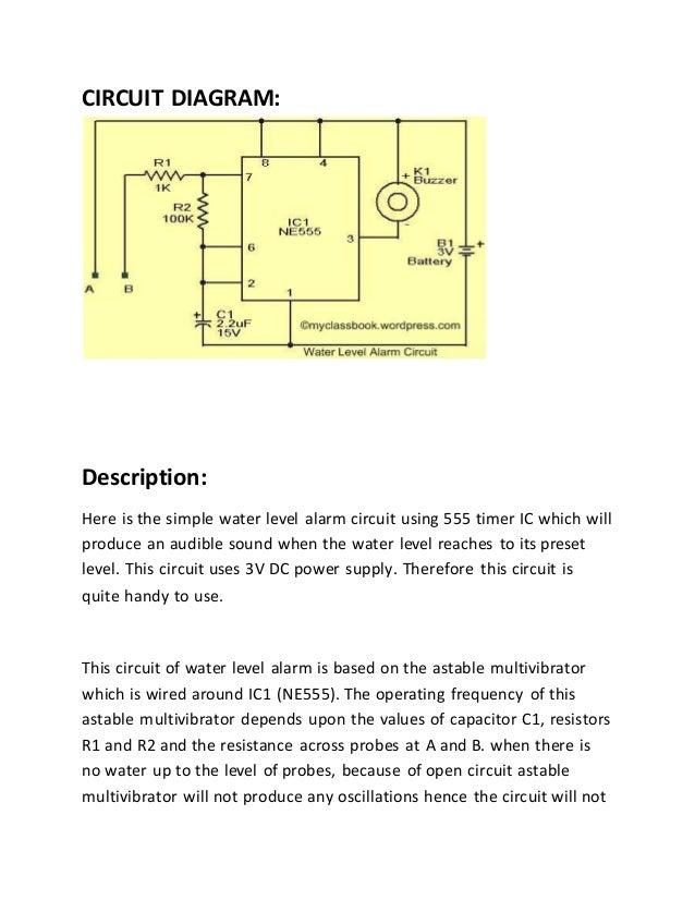 Circuit Diagram Of Water Level Indicator Using 555 Timer Simple