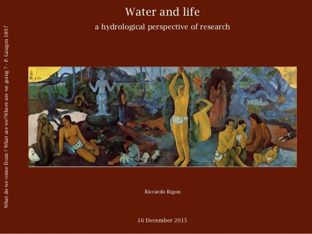 Water and life a hydrological perspective of research Riccardo Rigon 16 December 2015 Whatdowecomefrom?Whatarewe?Wherearew...