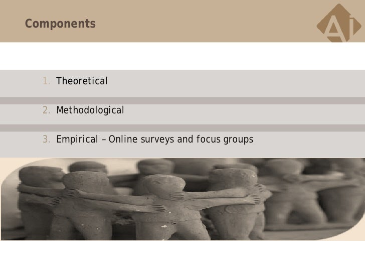 Components  1. Theoretical  2. Methodological  3. Empirical – Online surveys and focus groups
