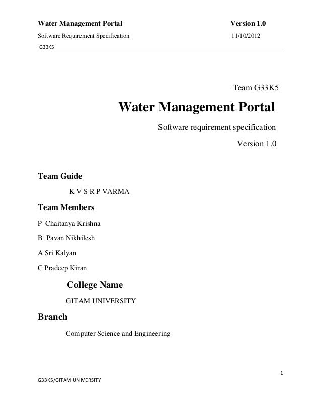 Water Management Portal                                   Version 1.0Software Requirement Specification                   ...