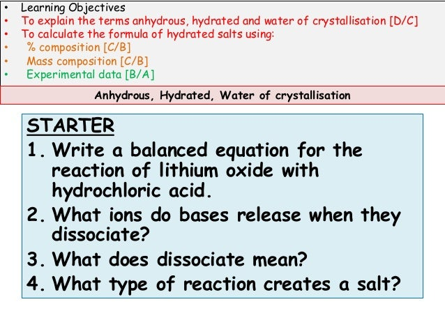 water of crystallisation coursework