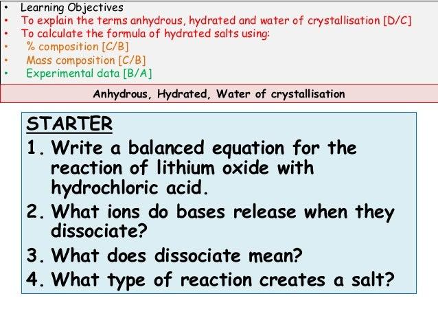 water of crystallisation coursework