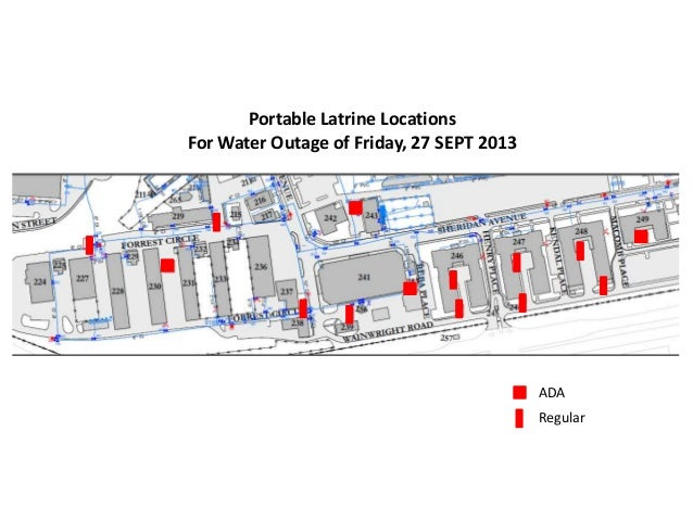 ADA Regular Portable Latrine Locations For Water Outage of Friday, 27 SEPT 2013