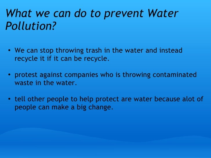 How to prevent water pollution essay