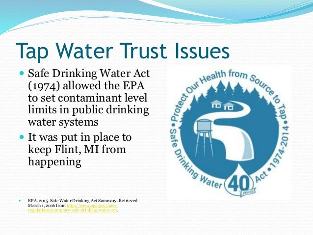 safe drinking water act Federal & state water supply laws and regulations  safe drinking water act federal regulations for chemical, microbial and unregulated .
