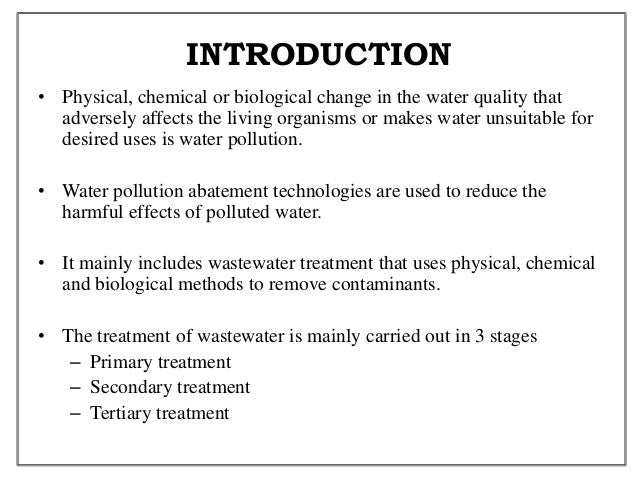 Introduction to water pollution essay