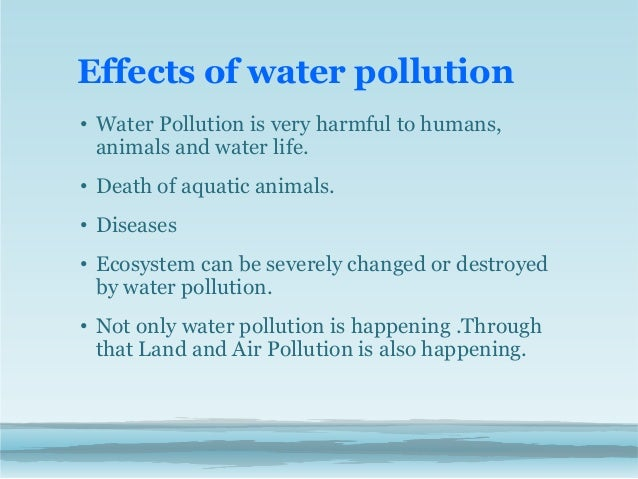 Write an essay about water pollution using cause and effect order