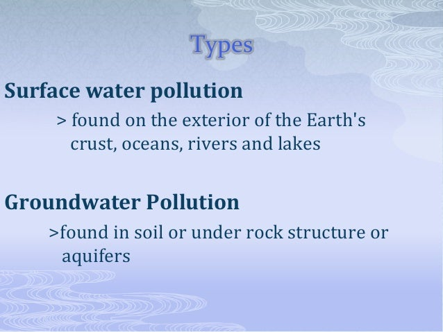 Powerpoint on water pollution.