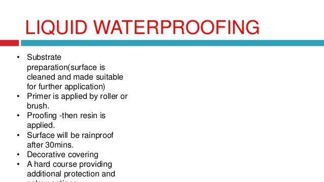 Waterproofing in structure