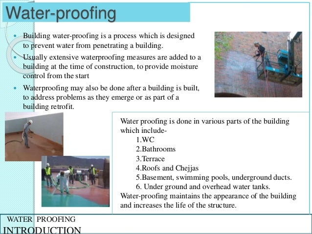 Water proofing in buildings for Procedure to build a house
