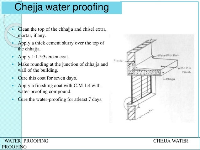 Slurry For Waterproofing Construction Joints In Pools : Water proofing in buildings