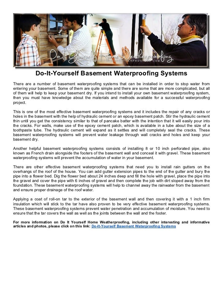 Do-It-Yourself Basement Waterproofing SystemsThere are a number of basement waterproofing systems that can be installed in...