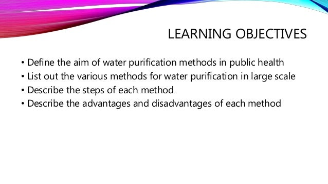 aims and objectives of water purification