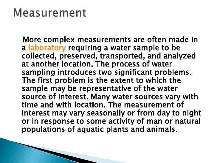 The second problem occurs as the sample isremoved from the water source and begins toestablish chemical equilibrium with i...