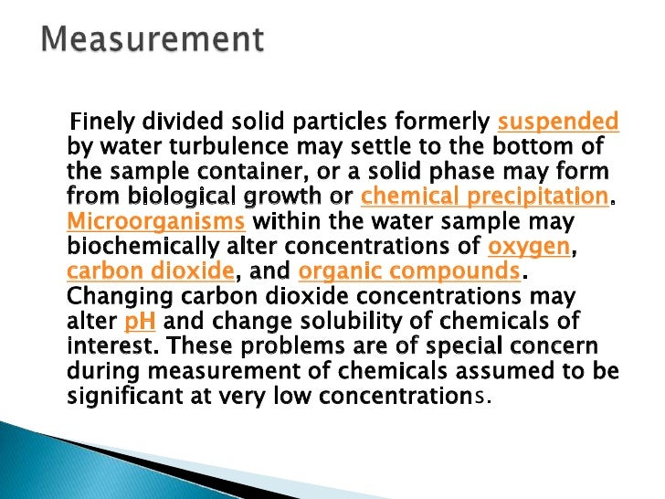 One sample container is filled with waterknown from previous analysis to contain nodetectable amount of the chemical ofint...