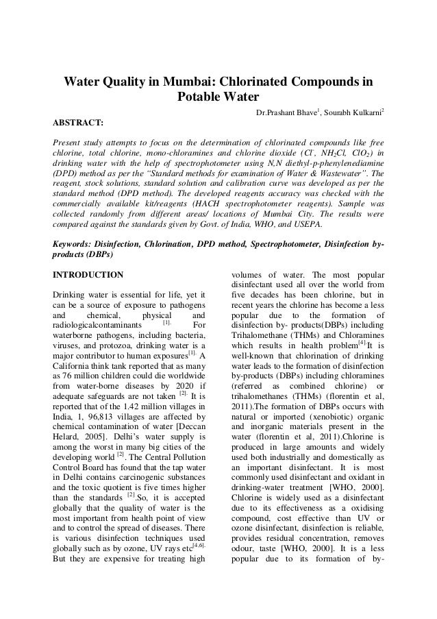 Water Quality in Mumbai: Chlorinated Compounds in Potable Water Dr.Prashant Bhave1 , Sourabh Kulkarni2 ABSTRACT: Present s...