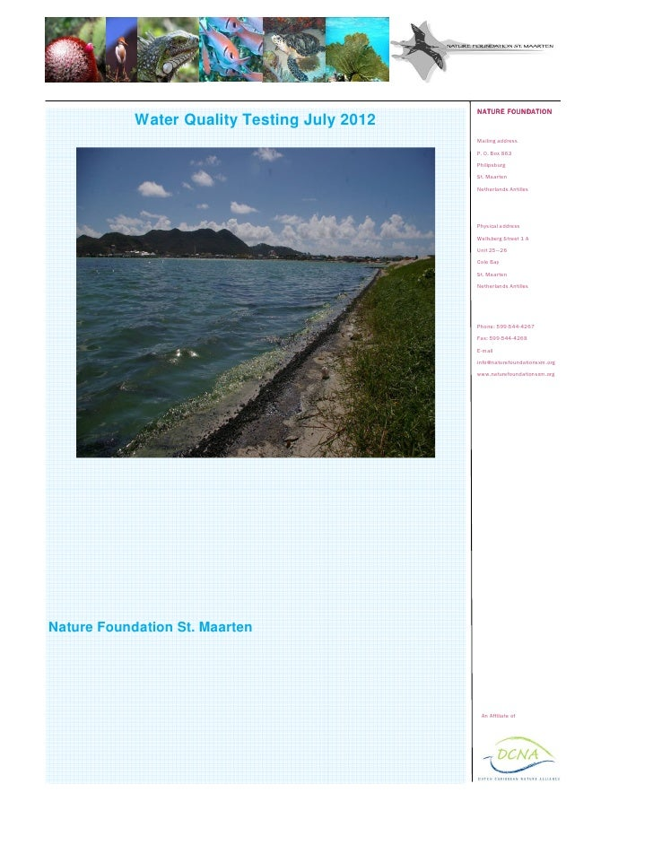NATURE FOUNDATION            Water Quality Testing July 2012                                              Mailing address ...