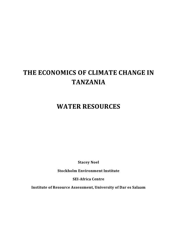 THEECONOMICSOFCLIMATECHANGEIN                TANZANIA                                                       WATER...