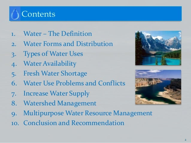 Water resources for All types of water