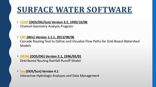 Hydrology and Water resources software