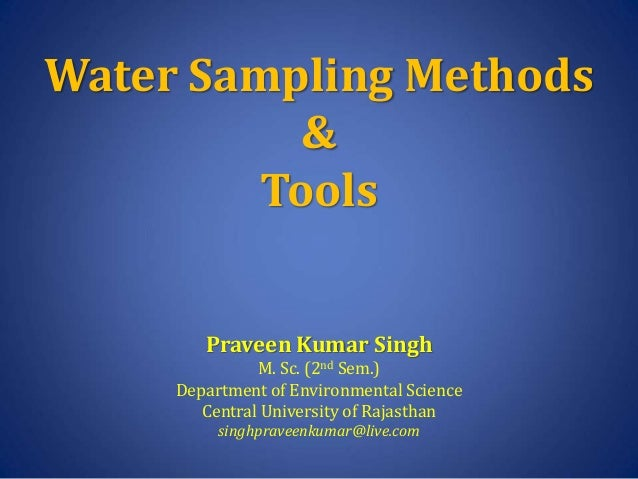 Water Sampling Methods And Tools
