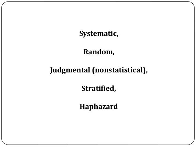 Systematic, Random, Judgmental (nonstatistical), Stratified, Haphazard