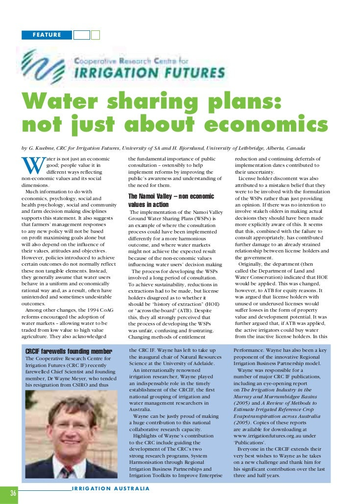 FEATURE     Water sharing plans:     not just about economics     by G. Kuehne, CRC for Irrigation Futures, University of ...