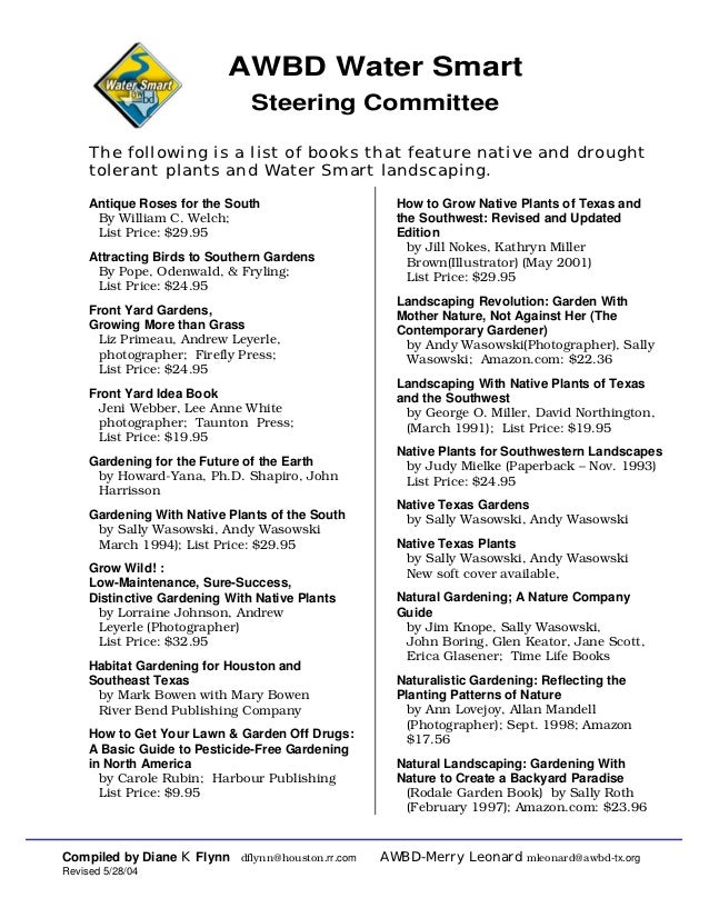 AWBD Water Smart                               Steering Committee     The following is a list of books that feature native...