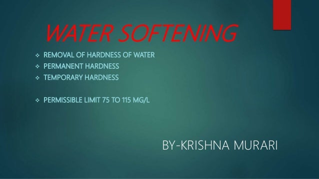 Water Softening And Hardness Removal