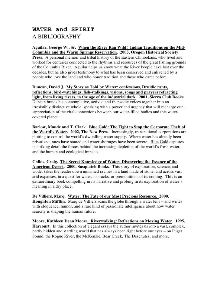 WATER and SPIRITA BIBLIOGRAPHYAguilar, George W., Sr. When the River Ran Wild! Indian Traditions on the Mid-Columbia and t...