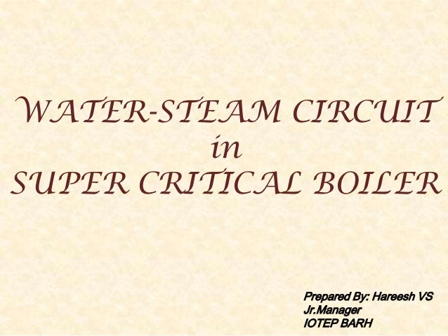 WATER-STEAM CIRCUIT          inSUPER CRITICAL BOILER              Prepared By: Hareesh VS              Jr.Manager         ...