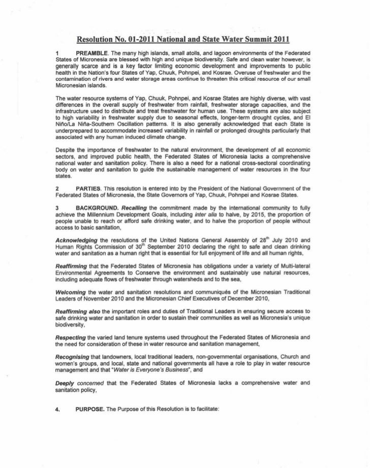 Resolution No. 01-2011 National and State Water Summit 20111        PREAMBLE. The many high islands, small atolls, and lag...